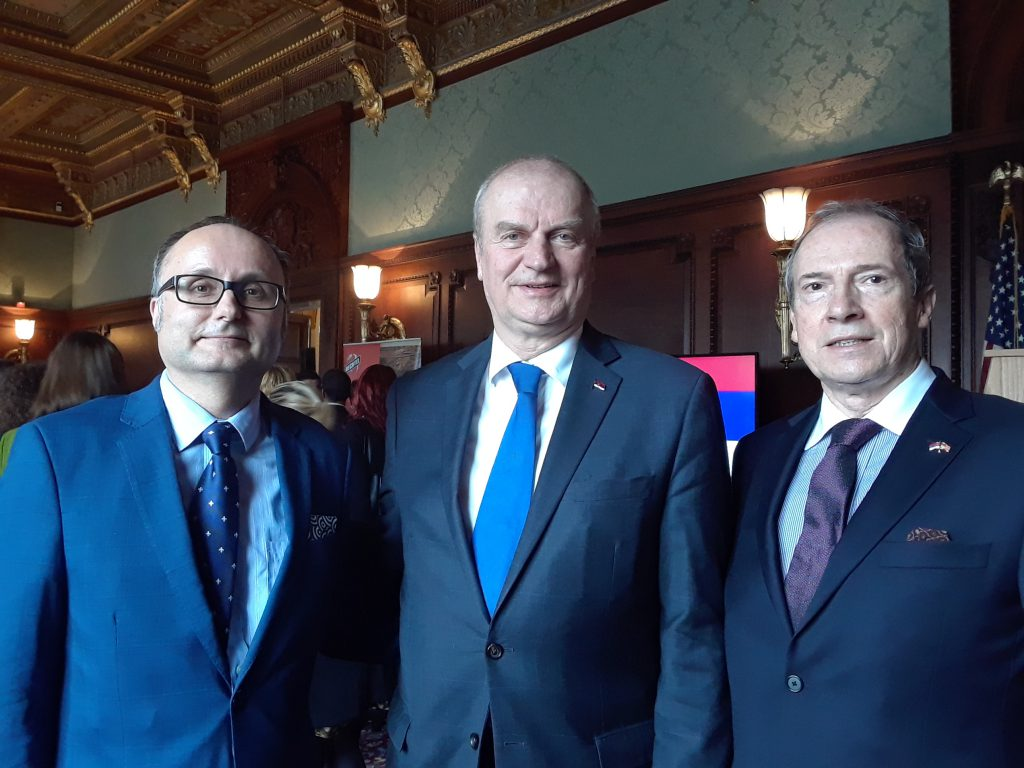 Milos Rastovic with the Ambassador of Serbia and the Vice President of the Serbian National Defense Council